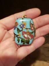 New listing Antique Chinese Cloisonne Pendant Hinged Pill Snuff Box Locket Floral Turquoise