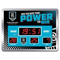 AFL Scoreboard LED Clock - Port Adelaide Power - Date Time Temp - Gift Box
