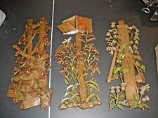 """3Pc Vintage 18"""" Wall Plaques Mailbox Wood Pile Burwood Products 1972"""