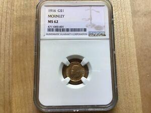 1916 McKinley Memorial $1.00 gold Coin NGC MS 62