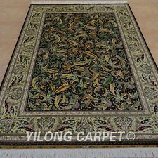 YILONG 6'x9' Handknotted Silk Area Rug Leaf Pattern Classic Home Carpet 0271