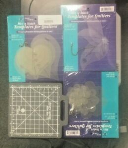 June Tailor Mix'n Match Templates for Quilters Lot Heart Twist Flower + Used Mat