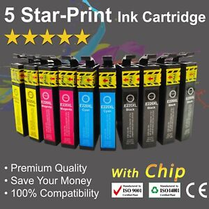 10 Ink Cartridges for Epson 220XL 4222 XP-220 XP-324 XP-320 XP-420 WF-2630/ 2650