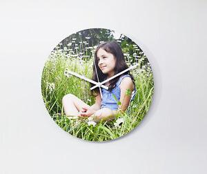 30cm diameter custom printed PVC foam wall clock. Silent movement. Metal hands.