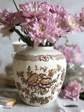 Beautiful Vintage Flower Vase Crown Devon Porcelain Brown Transferware England