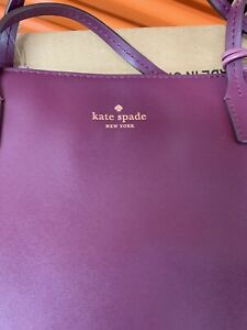 KATE SPADE NEW YORK LARGE LEATHER EGGPLANT PURPLE TOTE PURSE SHOULDER BAG