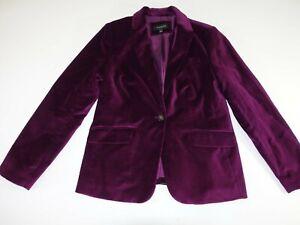 Talbots Women's 1 Button Velvet Blazer Jacket Size 8 Purple Suit Coat Lined EUC