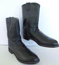 Justin Boots Mens Sz 11 EE Western Roper Farm Ranch Black Leather Cowboy Sherrif