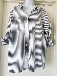 Lauren Ralph Lauren Blouse Shirt Plus Size 3X White Navy Stripe Roll Back Sleeve
