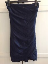 ASOS Navy Bandeau Strapless Tulip Hem Mini Dress Size 10