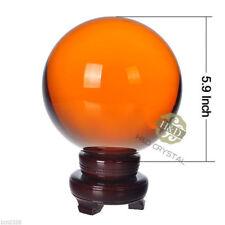 Asian Quartz Amber Magic Crystal Glass Ball Sphere Diameter 150mm + Wood Stand