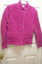 Chadwick's Magenta 100% Suede Leather Mandrin Collar Button Front Jacket 6M