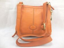 Fossil Women's Handbag Pebbled Leather Orange Cross Body Organizer
