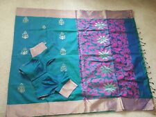 Gorgeous Peacock Uppada Silk Saree Fall/Pico Stitched Blouse Size 36 Readytowear