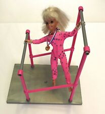 Vintage 1995 Mattel Barbie Gymnast Stacie Doll With Double Beams And Platform