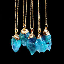 Quartz Gold Plated Natural Crystal Chakra Rock Necklace Pendant Colorful Stone