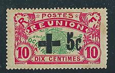 TIMBRES RÉUNION 1915-16 surchargé 5c sur 10c au profit de la Croix-Rouge