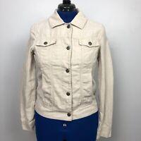 Eddie Bauer Women's Size Medium Jacket Beige 100% Linen Metal Rivet Buttons