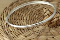 Solid 925 Sterling Silver Plain Oval Bangle Bracelet 4mm D-Shape 60mm x 50mm Box