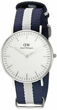 Daniel Wellington Glasgow White Dial SS Textile Quartz Womens Watch 0602DW