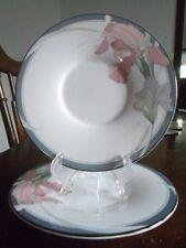 "Cafe Du Soir three (3) Saucers 6 1/8"" Noritake New Decade White Grey Pink Lilac!"