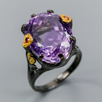 Handmade Jewelry Natural Amethyst 925 Sterling Silver Ring Size 8.5/R117952