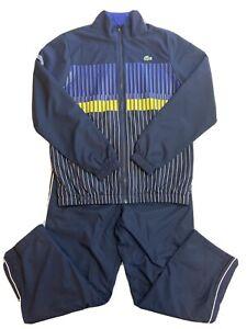 "Lacoste Sport Men's Navy Blue Yellow Tracksuit Size 4 Medium SHORT 26"" Lined"