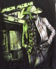Jason Aldean Night Train 2014 Concert T Shirt Medium Neon Logo Tour Black