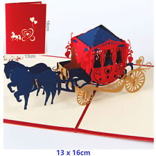 3D Pop Up Greeting Card Anniversary Valentine's Day Wedding carriage - Red