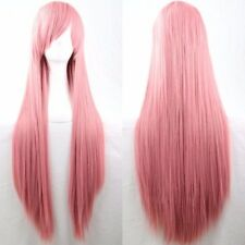 Pink 80cm Women Long Straight Hair Wig Fashion Costume Party Anime Cosplay