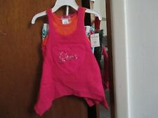 GUESS GIRLS 2 PC SET TOP IS PINK/ORANGE STRETCH SHORTS ARE FLORAL SIZE 2T