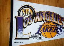 NEW 1990 ~VINTAGE~ DEAD STOCK LOS ANGLES LAKERS PENNANT FULL SIZE BASKETBALL