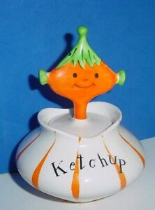 1958 Holt Howard Pixie Ware KETCHUP Condiment Jar w (Repaired) Spoon GC