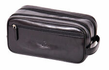 Mens real leather WASH BAG black shaving kit toiletries cosmetic travel bag NEW
