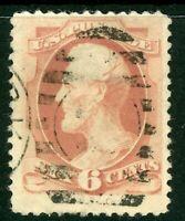 USA 1879 Lincoln 6¢ Pink Scott 186 VFU O261 ⭐⭐⭐⭐⭐⭐