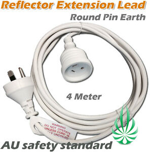 Reflector Extension Leads Cord Ballast Round Pin Earth HPS/MH Grow Light Cable