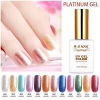 Hot RS Nail Gel Nail Polish UV LED Varnish Soak Off Glitter Platinum Gel Colours