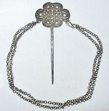 "4.3"" Antique Chinese Silver Hair Pin with 13.5"" Chain - Sterling ?  (40 grams)"