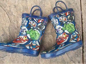 Used Set Of Marvel Comics Boys Wellington Boots