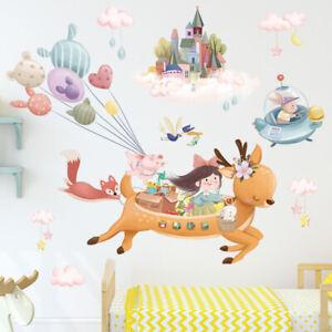 Cartoon Castle Deer Balloon Wall Sticker Girl Baby Nursery Room Art Decal Gift