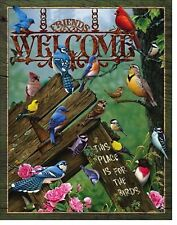Welcome Bird Metal Sign Rustic Home Blue Cardinal Wildlife Friends Lover Gift