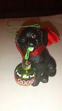 American Greetings Pet Ornament Black Puppy w/Ornament 2009 w/Box