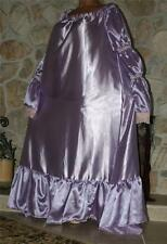 XL TALL PURPLE SWEEPING SATIN VTG STYLE NEGLIGEE LINGERIE GOWN DRESS SLEEVES
