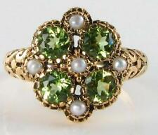 UNUSUAL 9K 9CT GOLD PERIDOT & PEARL ART DECO INS CLUSTER RING FREE RESIZE