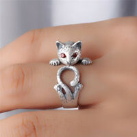 Women Boho Vintage Jewelry Kitty Cat Ring Animal Accessory Adjustable Knuckle RS