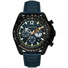 Mens Watch NAUTICA NMX 1500 NAI22507G Chrono Leather Blue Sub 100mt Black
