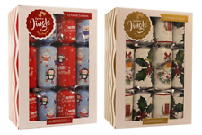 """Box Of 12 Christmas Crackers 12"""" Assorted Designs Includes Joke Hat Novelty Gift"""