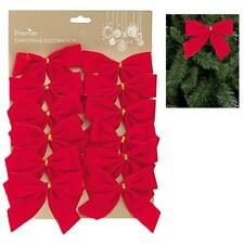 Lot de 12 12cm velours rouge noeuds Décoration sapin de Noël