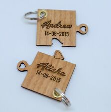 Lovers cherry wood key rings with names and wedding date engagement date 2 items