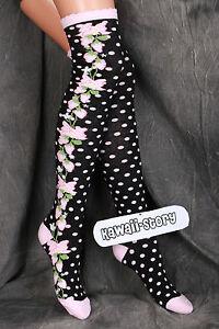 So-26 schwarz Punkte Erdbeer Gothic Lolita Socken Overknees Strümpfe Stockings